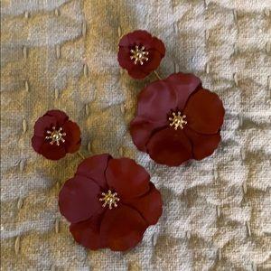 Anthropology Poppy Earrings, Burgundy